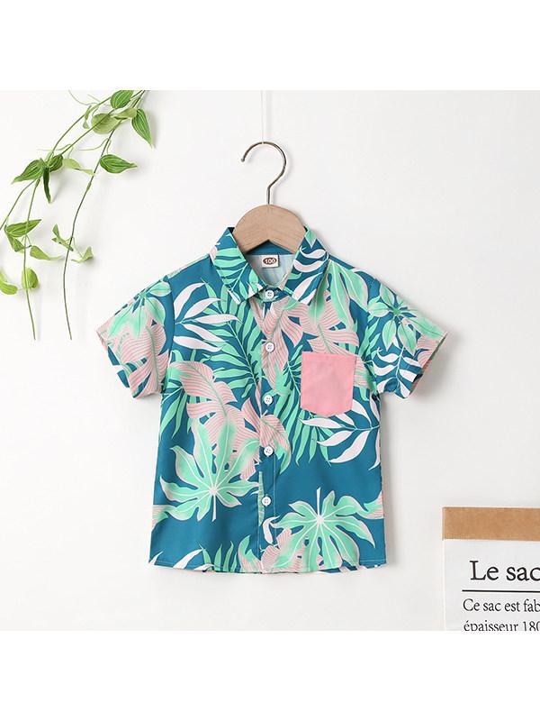 【18M-7Y】Boys Zero-turning Tropical Print Single-breasted Shirt