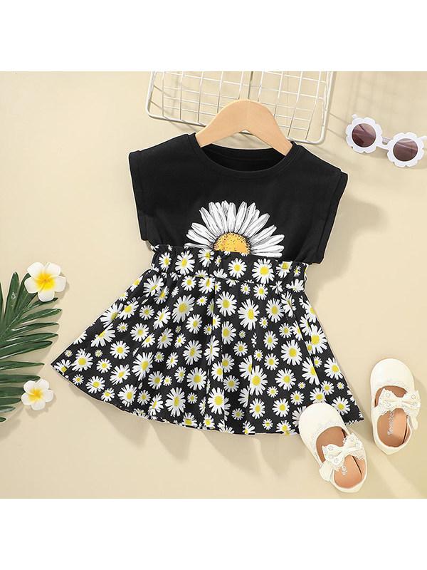 【12M-7Y】Girls Round Neck Flower Print Vest Stitching Dress