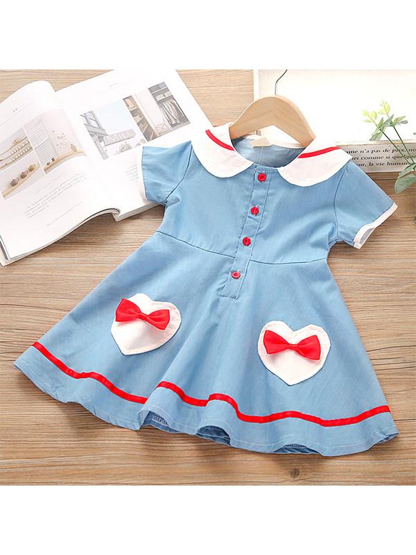 【18M-7Y】Girls Navy Style Lapel Bow Denim Dress