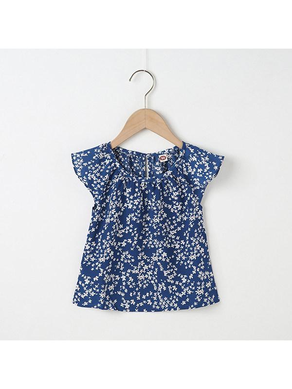 【18M-7Y】Girls Round Neck Floral Short Sleeve Top