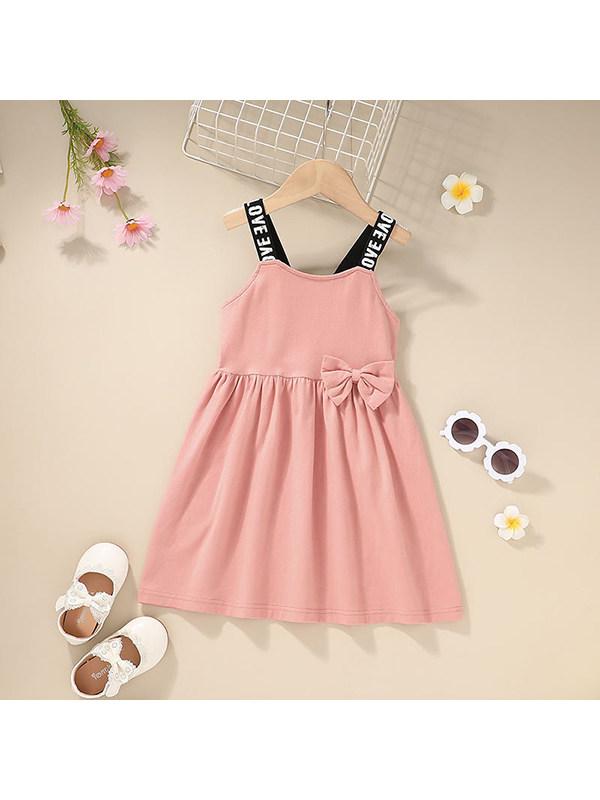 【12M-5Y】Girls Round Neck Letter Print Suspender Dress
