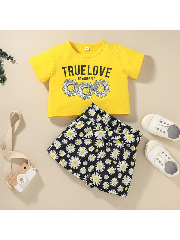 【12M-5Y】Girls Round Neck Short Sleeve Printed T-shirt With Floral Shorts Two-piece Suit