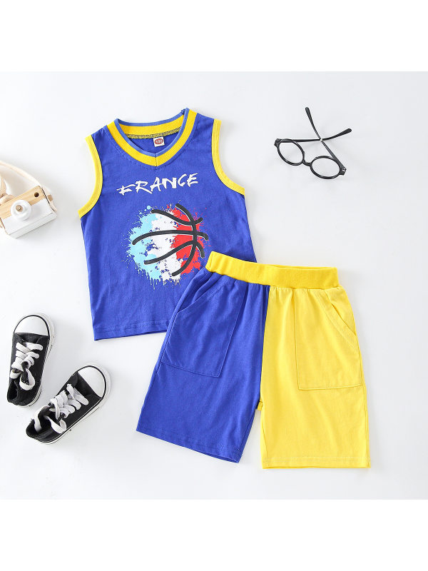 【18M-7Y】Boys Contrast Stitching Color Tank Top Shorts Two-piece Suit