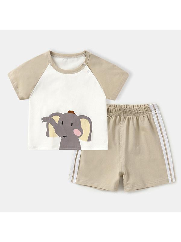 【6M-4Y】Boys Round Neck Short Sleeve Cartoon Print T-shirt With Shorts Set