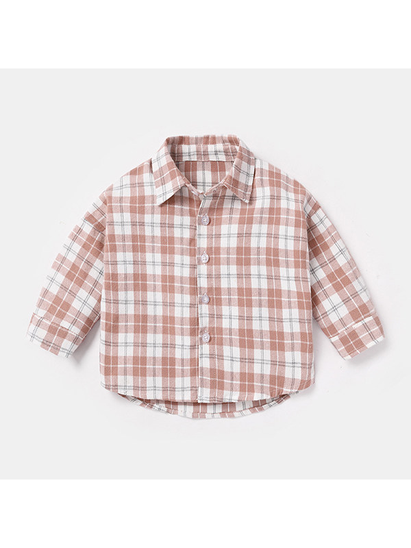 【6M-4Y】Boys Lapel Single-breasted Check Long-sleeved Shirt