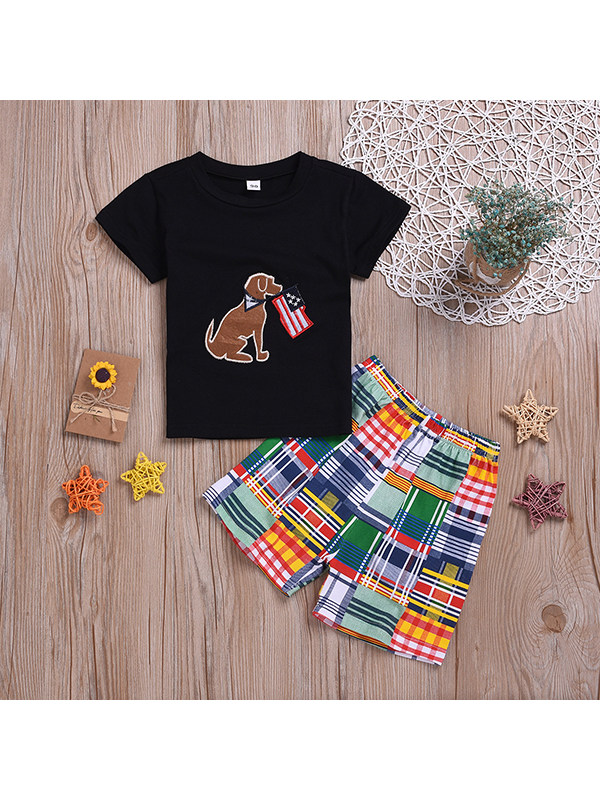 【18M-7Y】Boys Cartoon Cute Puppy Print Short-sleeved Shirt With Colorful Checkered Pants Suit