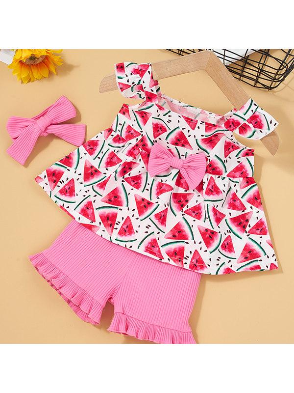 【3M-3Y】Girls Sleeveless Watermelon T-shirt Shorts Suit