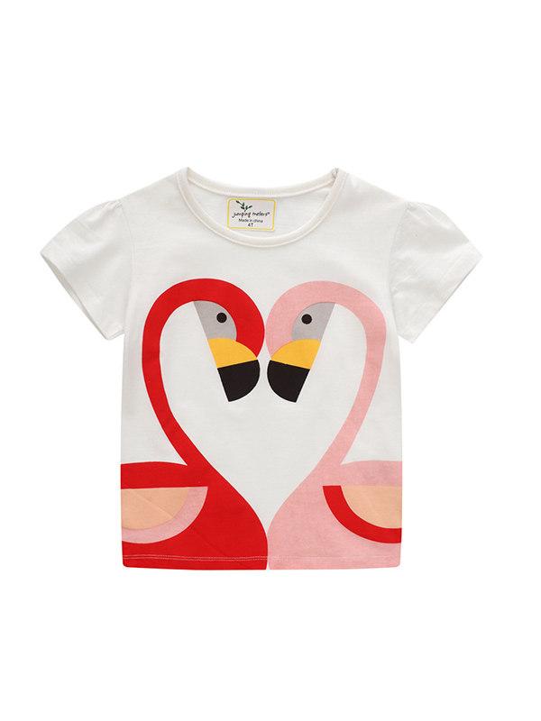 【12M-7Y】Girls Cartoon Print Crew Neck T-shirt