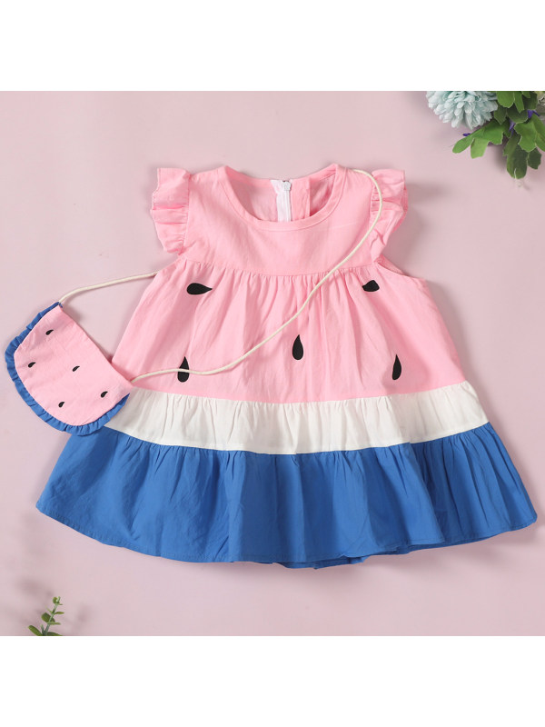 【18M-5Y】Cute Watermelon Print Dress with Bag