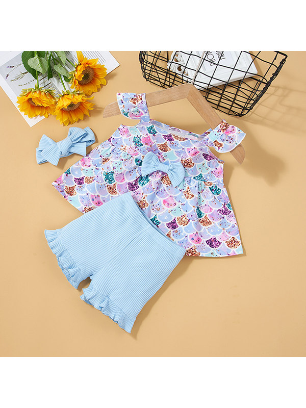 【3M-3Y】Girls Colorful Scales Top And Shorts Suit