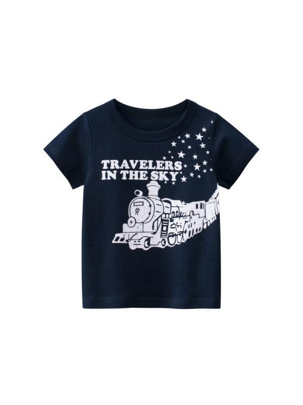 【18M-9Y】Boy's Letter Print Trend Short Sleeve T-shirt