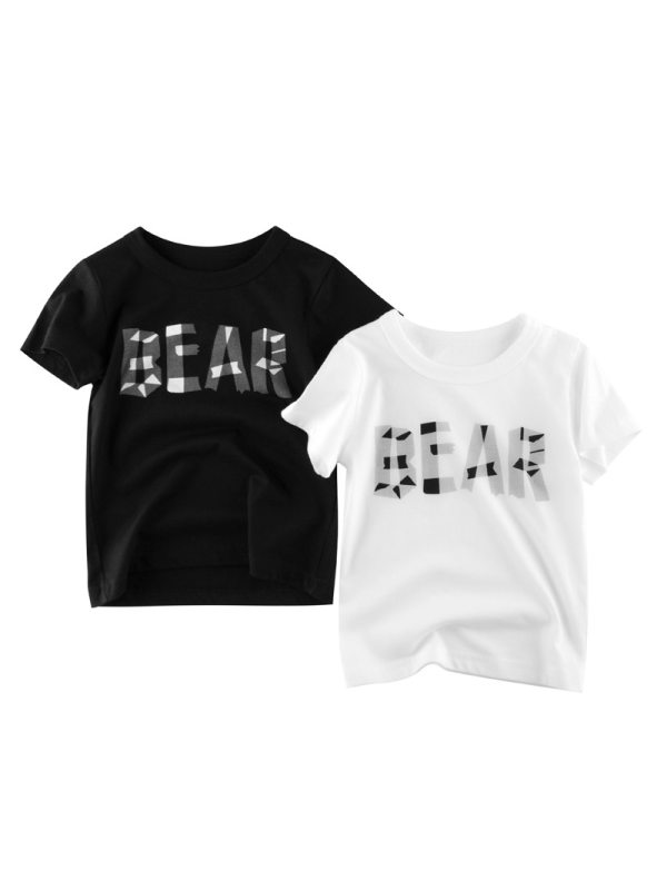【18M-9Y】Boys Letter Print Short Sleeve T-shirt