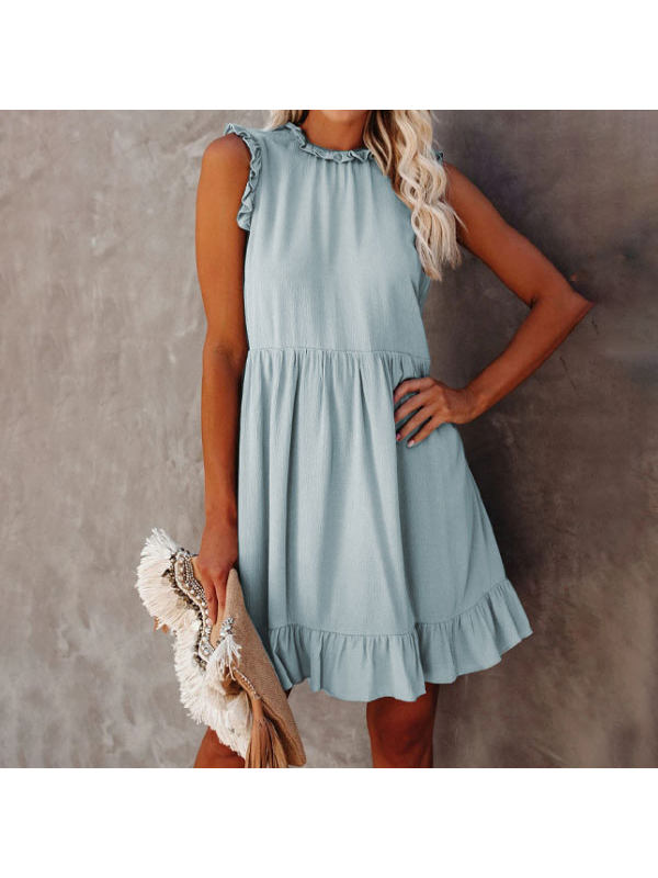 Solid Color Round Neck Sleeveless Ruffle Dress