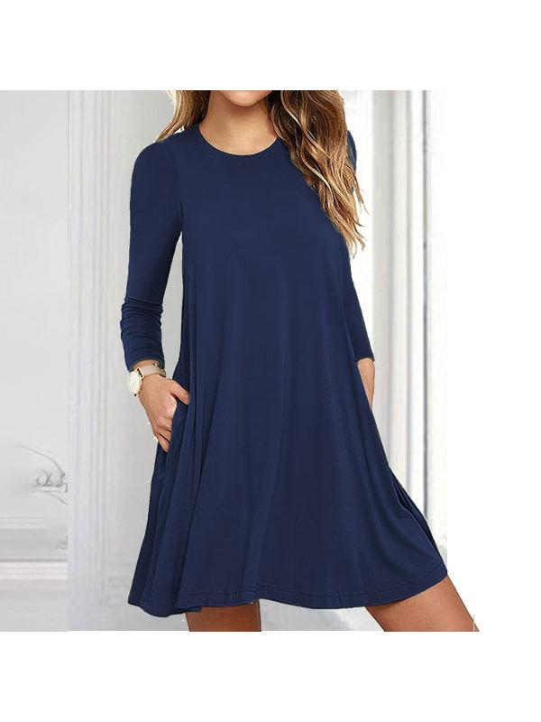 Fashion Long Sleeve Pocket Dress