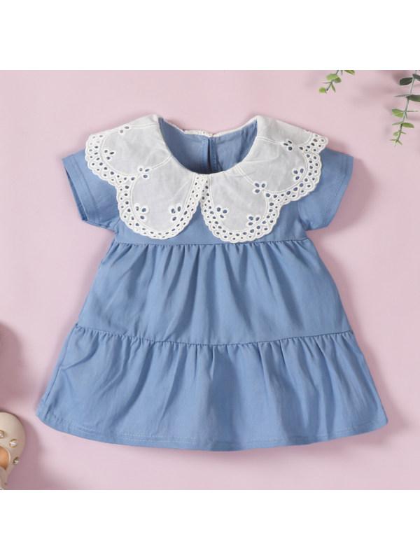【0M-12M】Cute White Lace Collar Blue Dress