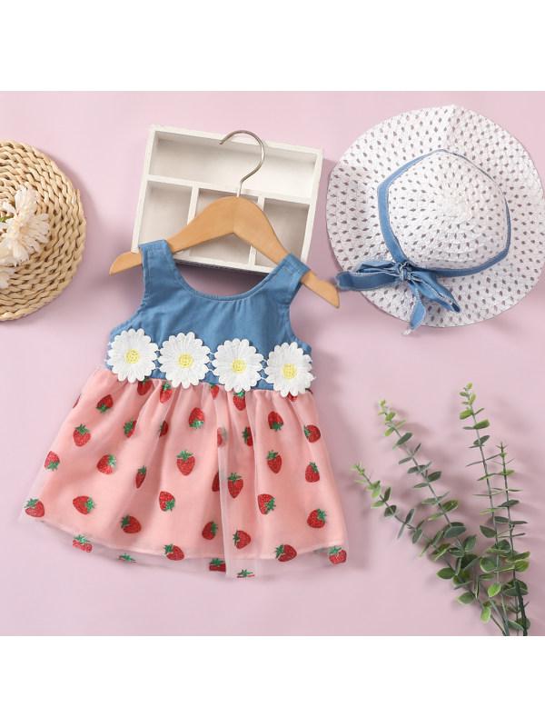 【3M-18M】Cute Strawberry Print Mesh Dress