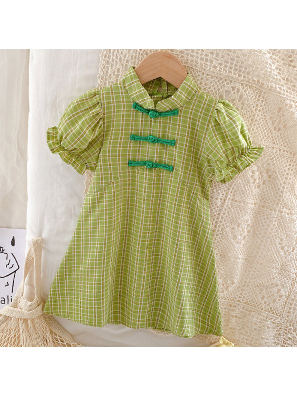 【12M-9Y】Sweet Green  Plaid Puff Sleeve Dress