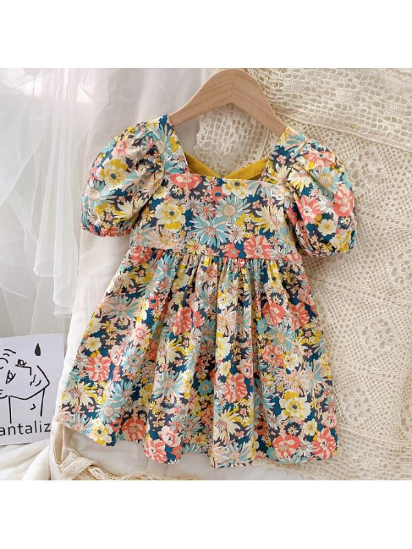 【12M-9Y】Sweet Flower Print Puff Sleeve Dress