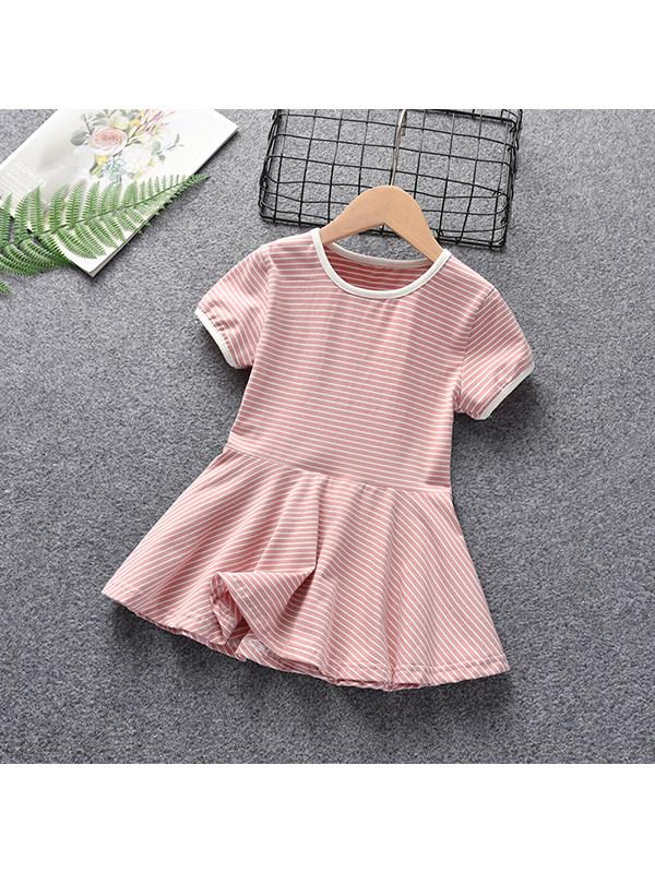 【12M-7Y】Girls Round Neck Short Sleeve Striped Dress