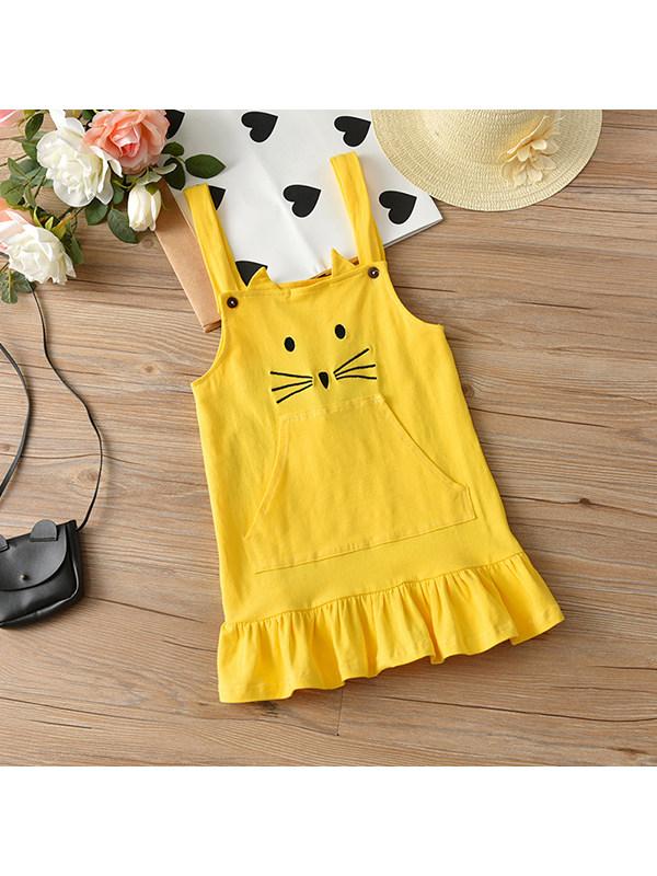 【12M-7Y】Girls Round Neck Cartoon Vest Dress