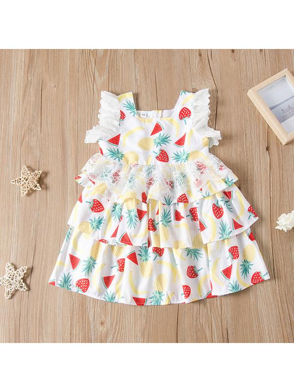 【18M-7Y】Girls Round Neck Sleeveless Fruit Print Cake Dress