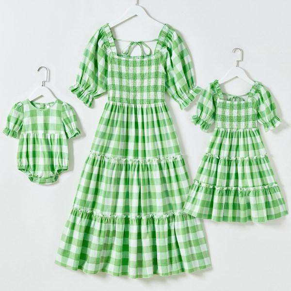 Sweet Green Plaid Puff Sleeve Mom Girl Matching Dress