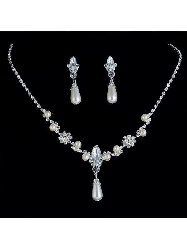 Necklace Earrings Pearl Rhinestone Jewelry Bridal Set