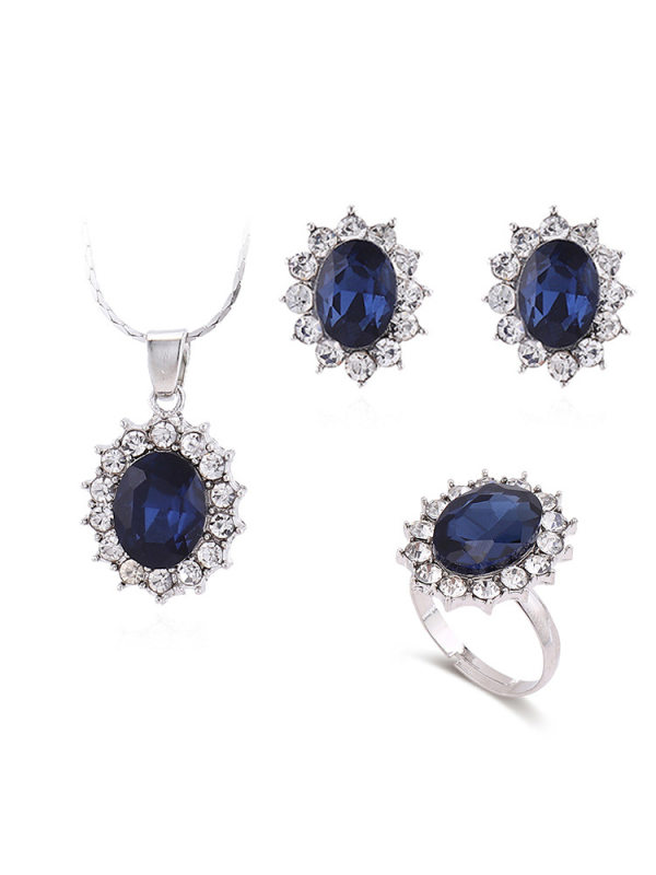 High-end sparkling diamond sapphire earrings necklace ring set