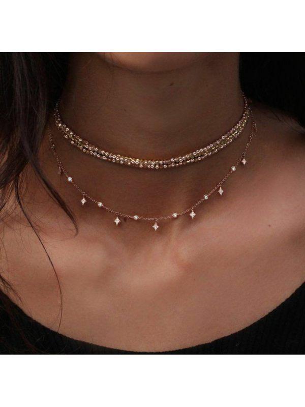 Elegant Sparkling Diamond Star Pendant Necklace