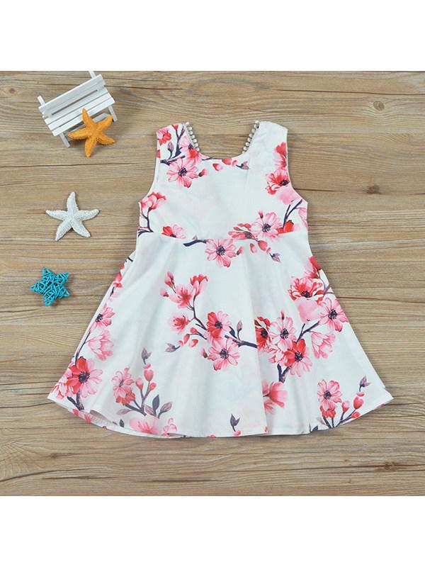 【12M-5Y】Girls Flower Print Sleeveless Dress