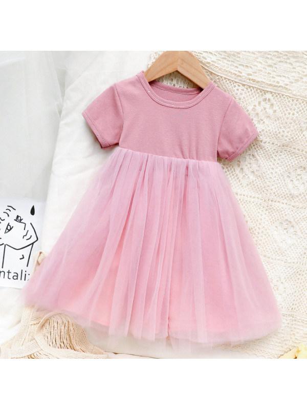 【18M-7Y】Cute Round Neck Mesh Dress