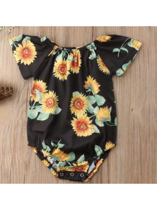 【6M-3Y】Girls Sunflower Print Jumpsuit