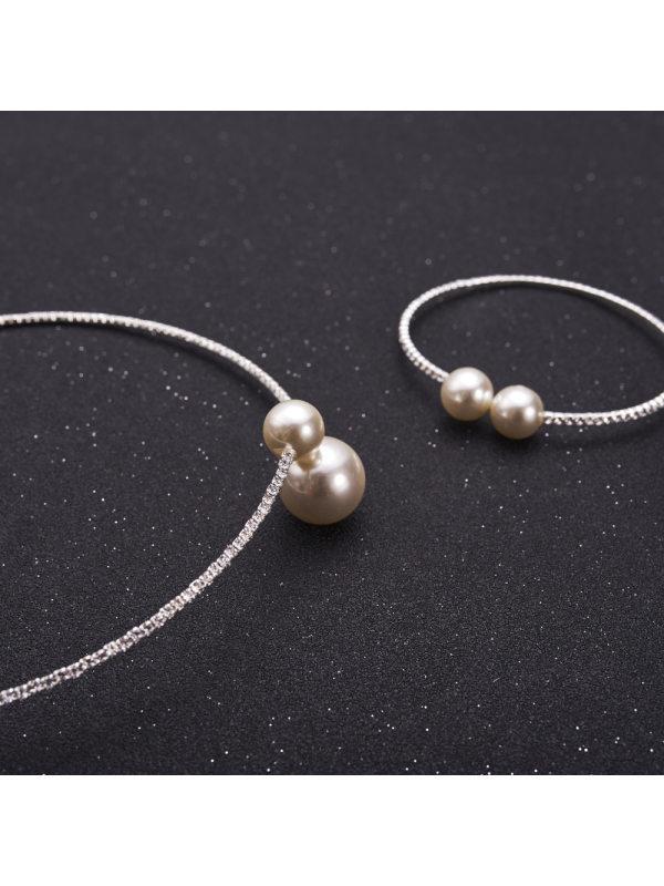 Adjustable Elegant Shiny Rhinestone Pearl Necklace Necklace