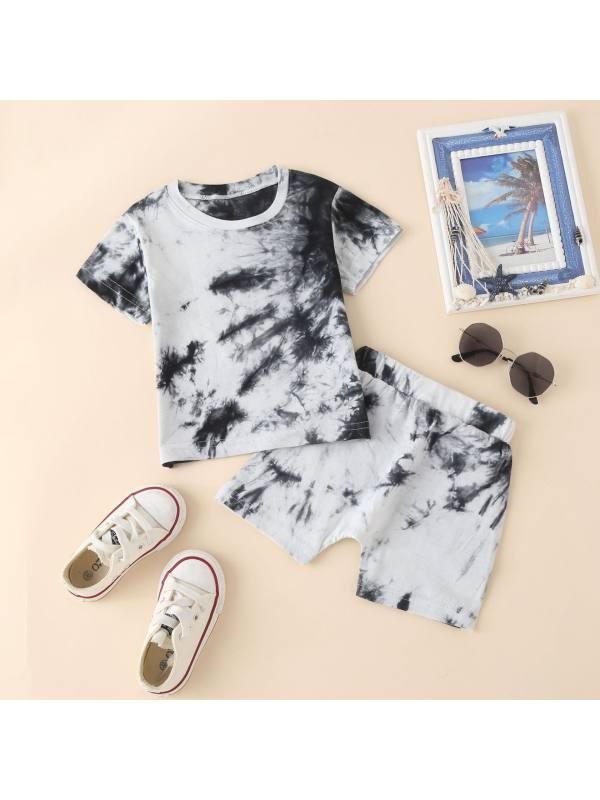 【12M-5Y】Boy's Round Neck Pullover Tie-dye Short-sleeved Shorts Two-piece Suit
