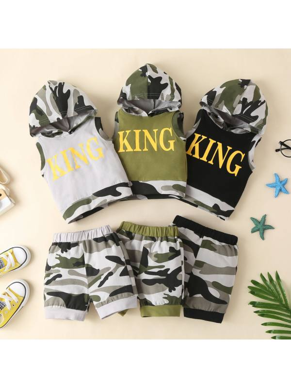【12M-7Y】Boys Camouflage Sleeveless Print Hooded Pullover Shorts Two-piece Suit