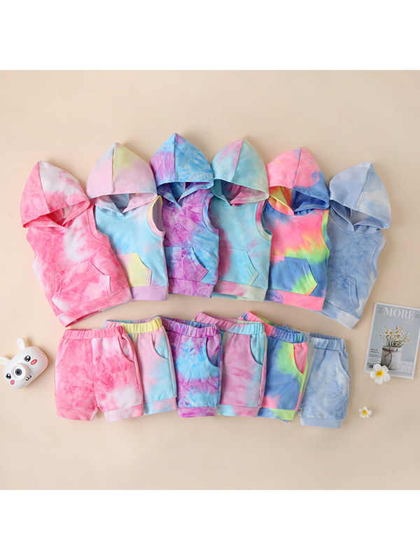 【12M-5Y】Girls' Tie-Dye Sweater Sleeveless Hooded Pullover Shorts Two-Piece Set