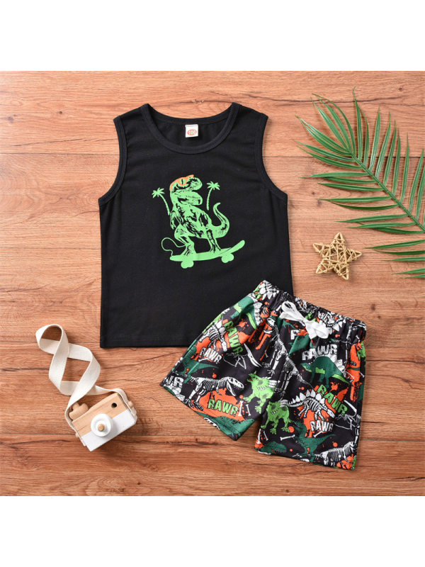 【6M-3Y】Boy's Dinosaur Cartoon Print Tank Top And Shorts Two-piece Suit