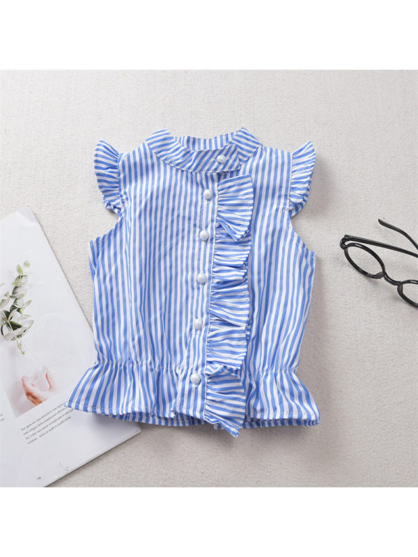 【12M-5Y】Girls Blue And White Striped Ruffled Flying Sleeve Shirt