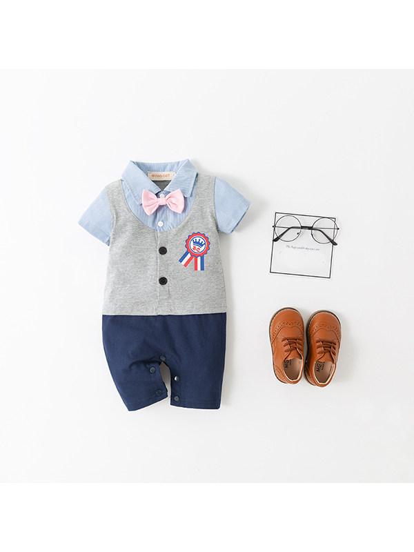 【6M-2.5Y】Boys Gentleman Emblem Vest Bodysuit