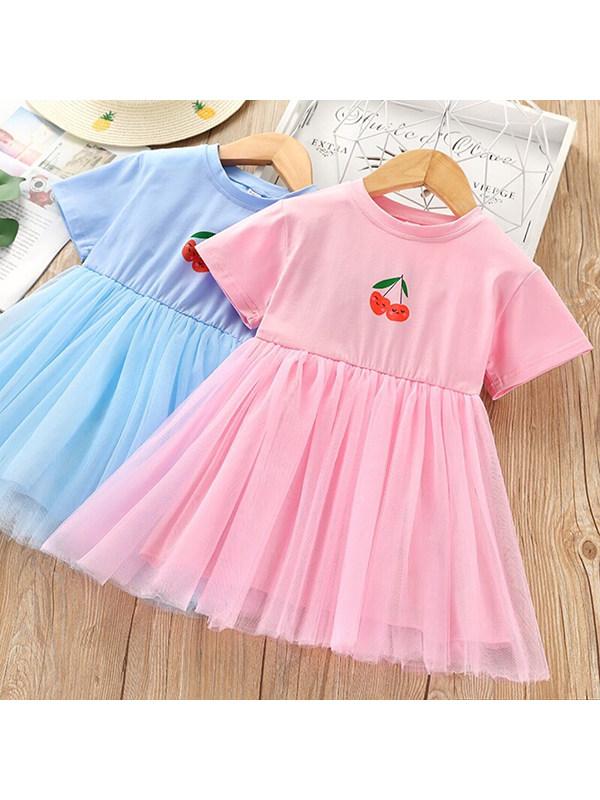 【2Y-9Y】Girls Round Neck Short Sleeve Cartoon Printed Mesh Dress