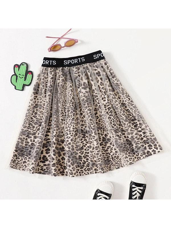 【4Y-13Y】Girls Leopard-print Mesh Skirt
