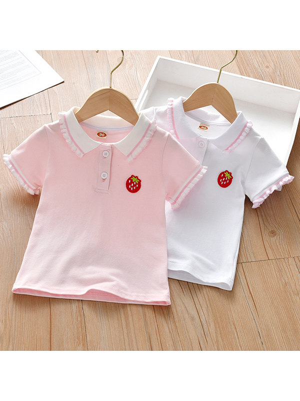 【18M-7Y】Girls Strawberry Casual Lapel Short Sleeve T-shirt