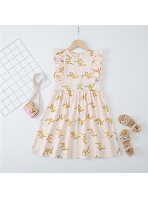 【3Y-13Y】Big Girl Cartoon Print Vest Dress
