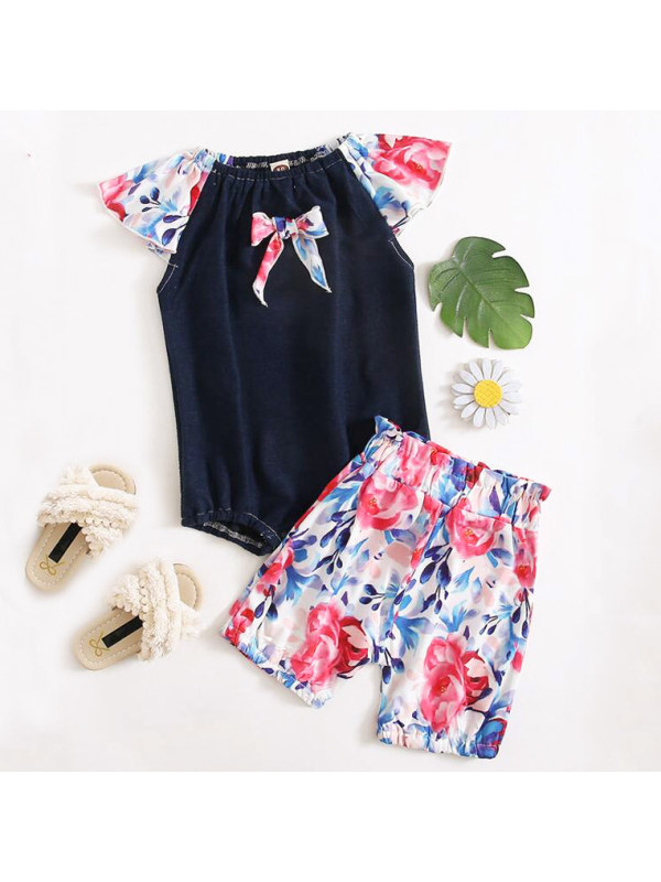 【18M-5Y】Sweet Floral Print Romper And Shorts Set