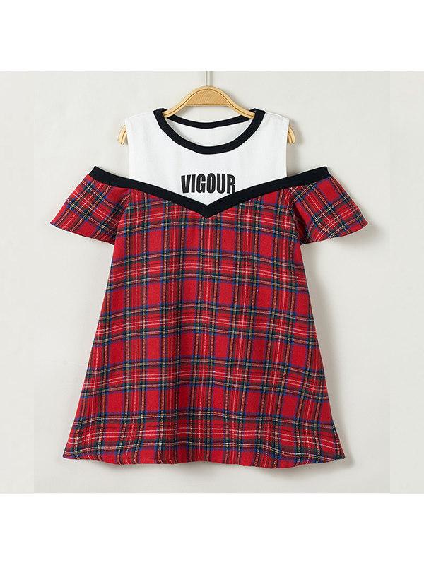 【18M-7Y】Girls Red Plaid Stitching Short-sleeved Dress