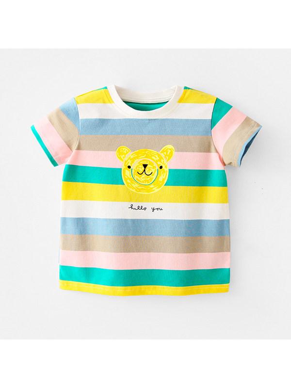 【12M-7Y】Casual Rainbow Striped Cartoon Print T-shirt