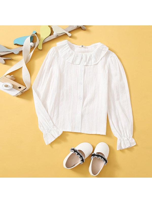 【4Y-13Y】Big Girl Doll Collar Long Sleeve Shirt