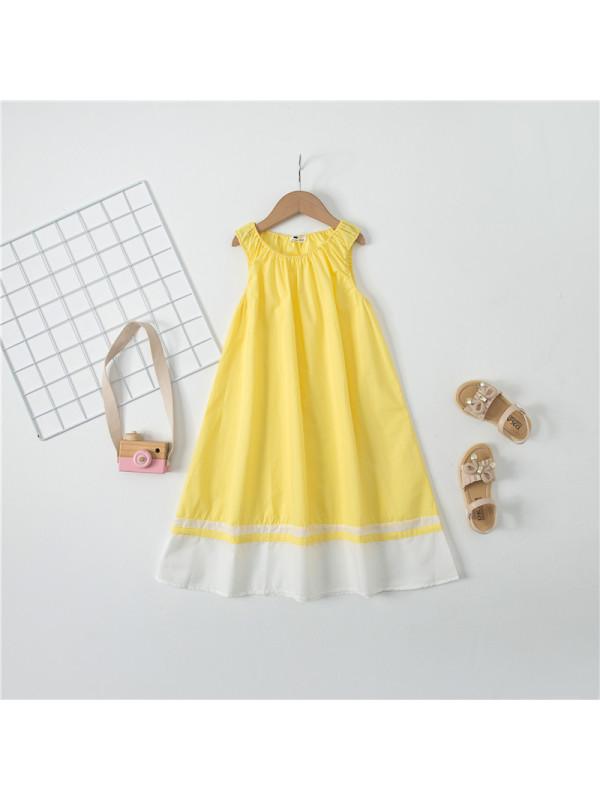 【4Y-13Y】Big Girl Simple Cotton Sleeveless Dress