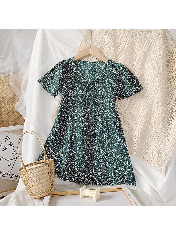 【18M-7Y】Girls V-neck Short-sleeved Floral Dress
