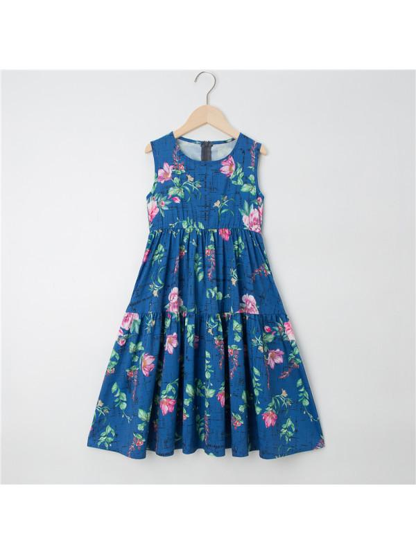 【3Y-13Y】Girls Sleeveless Floral Dress